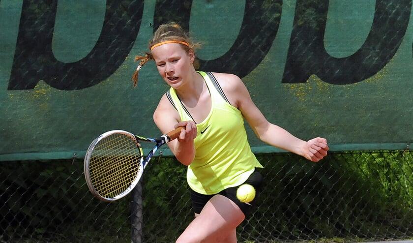 • Amanda Bikker in actie tijdens de halve finale.