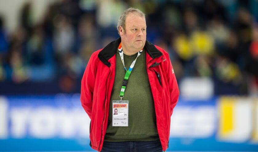 • Bert Timmerman afgelopen zaterdag tijdens het NK allround en sprint in Thialf.