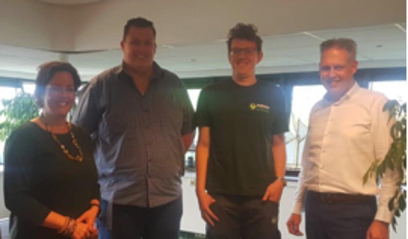 • Staatssecretaris Tamara van Ark en Verheij'ers Paul Wervenbos, Daniël de Bruin en Arie in 't Veld.