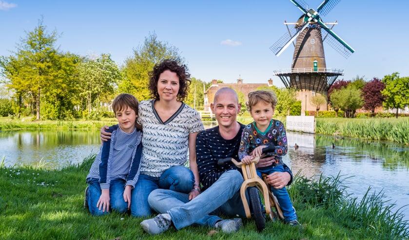 • Edwin, Birgit en hun zonen Tim en Jurre.