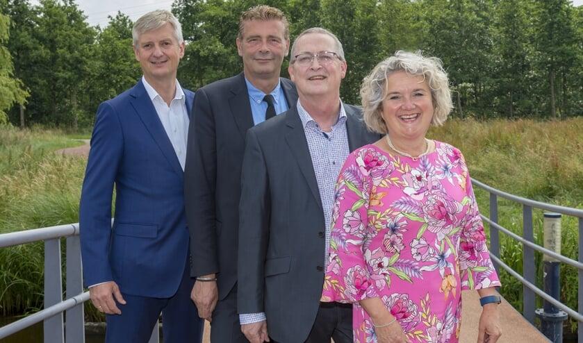 • Kirsten Jaarsma met haar drie collega-wethouders Anthon Timm, John Janson en Arjan Neeleman.
