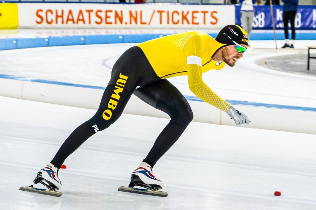 • Patrick Roest schaatste naar een nieuw baanrecord op de 3000 meter tijdens het NK Clubs. Foto: Jim Tellier © Krimpenerwaard