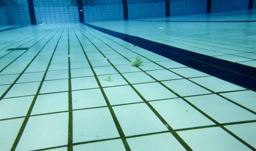 • Ronddrijvend vuil op de bodem van zwembad De Lansingh.