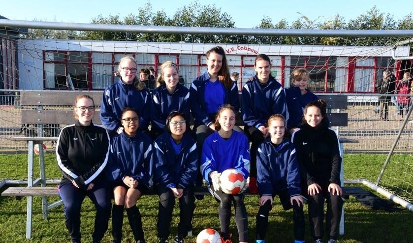 • Jara met haar teamgenoten van het CP-vrouwenteam.