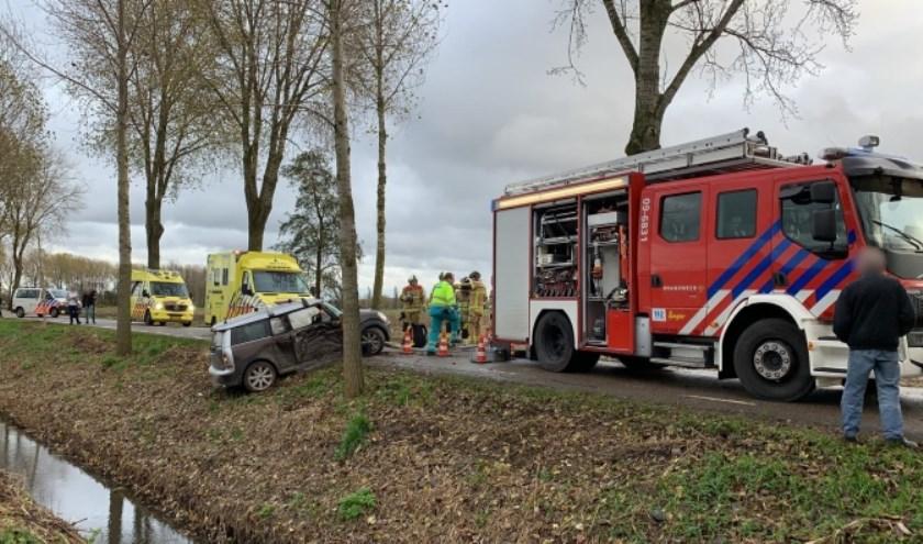 • De auto botste op een boom en kwam in de andere berm tot stilstand.