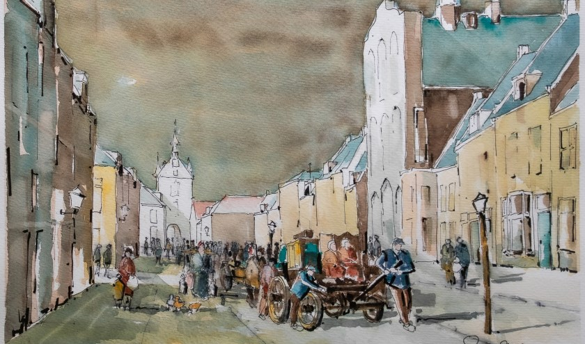 • Het is rond 1800 en slachtoffers van de overstromingen bereiken de binnenstad van Vianen.  Aquarel 2019, Gerard van Straten, Lexmond.