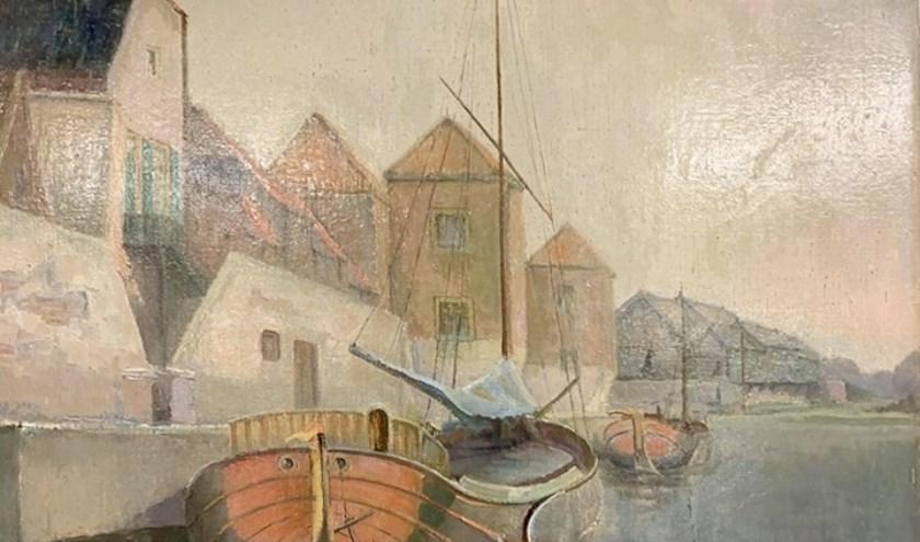 • Het olieverfschilderij (1947) met daarop de Zuidwal.