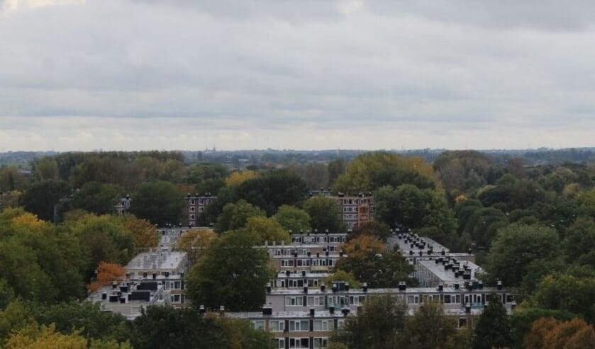 Overzicht van een kwart van de wijk IJsselveld-Oost; een van de pleinen is het Kameraplein. (Fotoarchief Lysette Verwegen)
