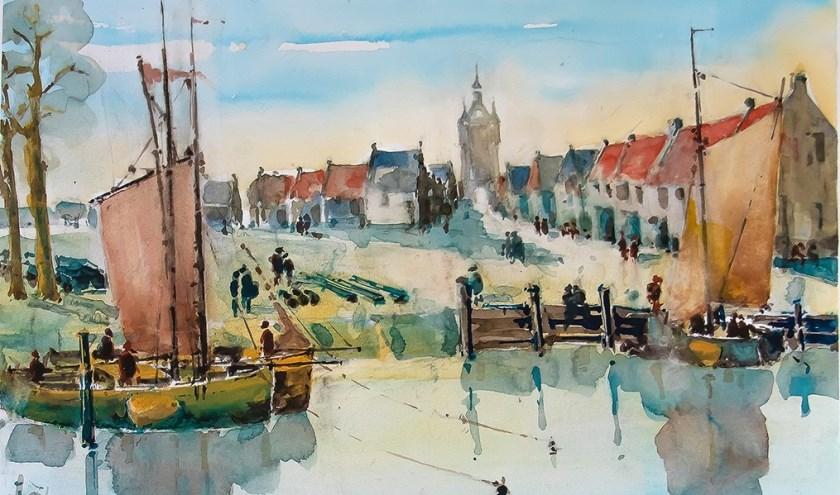 • De haven in de Buitenstad midden achttiende eeuw.