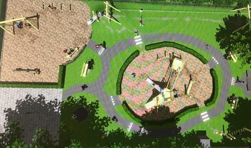 • Illustratie van de nieuwe speeltuin in Uitweg.