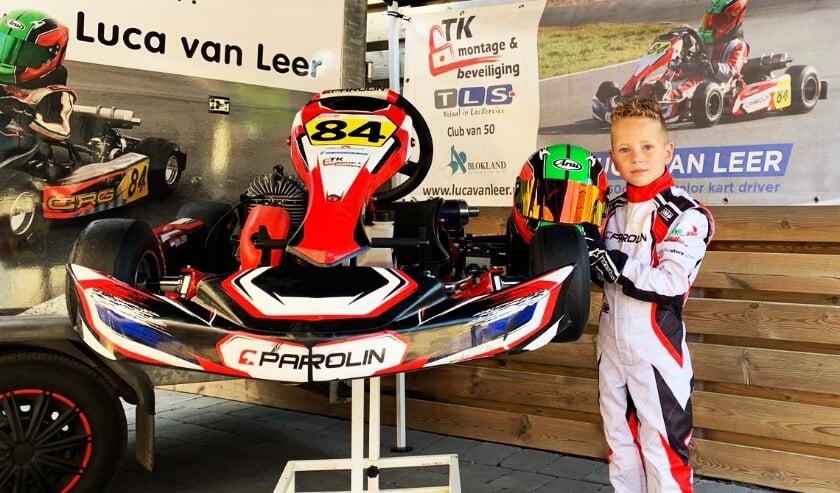 • De pas 8-jarige Luca van Leer rijdt dit seizoen in zijn kart voor het eerst op nationaal niveau.