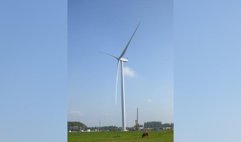 • Een van de windmolens bij de Autenasekade.