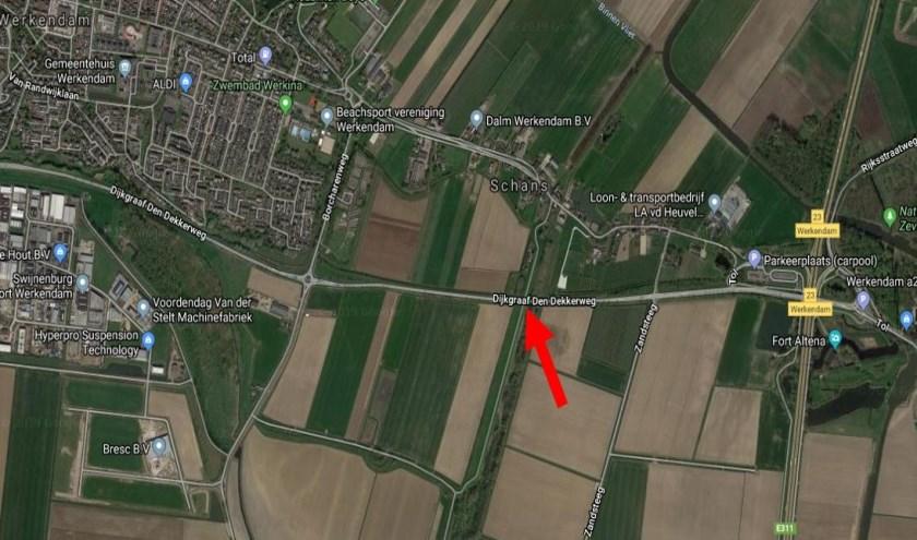 • De locatie van de fietsbrug wordt aangegeven op deze kaart.