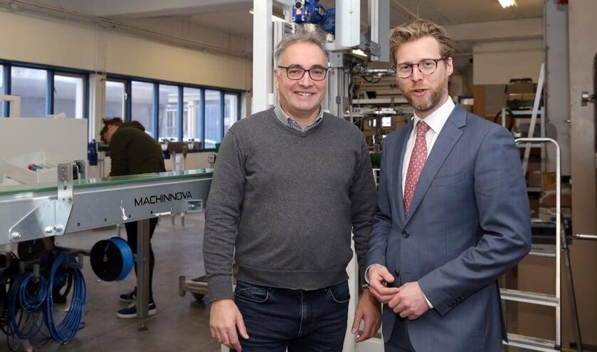 • Paul Pardoen, Algemeen Directeur Machinnova (links) en Maarten Burggraaf, wethouder Economie gemeente Dordrecht.