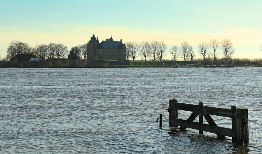 • De winnende foto van het hoogwater nabij Slot Loevestein.