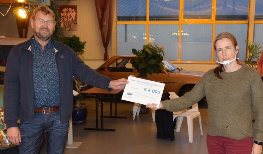 <p>&bull; Jan de Lange overhandigt de cheque aan Janet Brouwer.</p>
