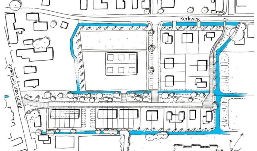 • Een schets van het woningbouwplan in Leerbroek.