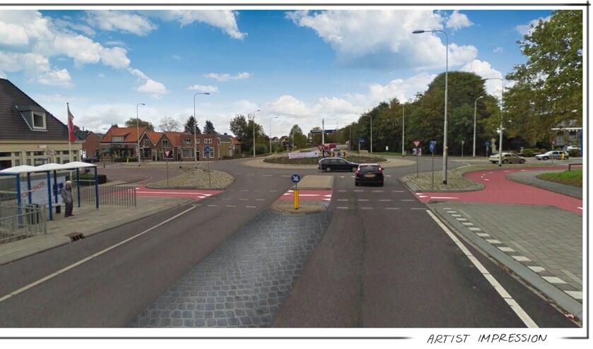 • Visualisatie van de aanpassingen bij de rotonde in Haastrecht.