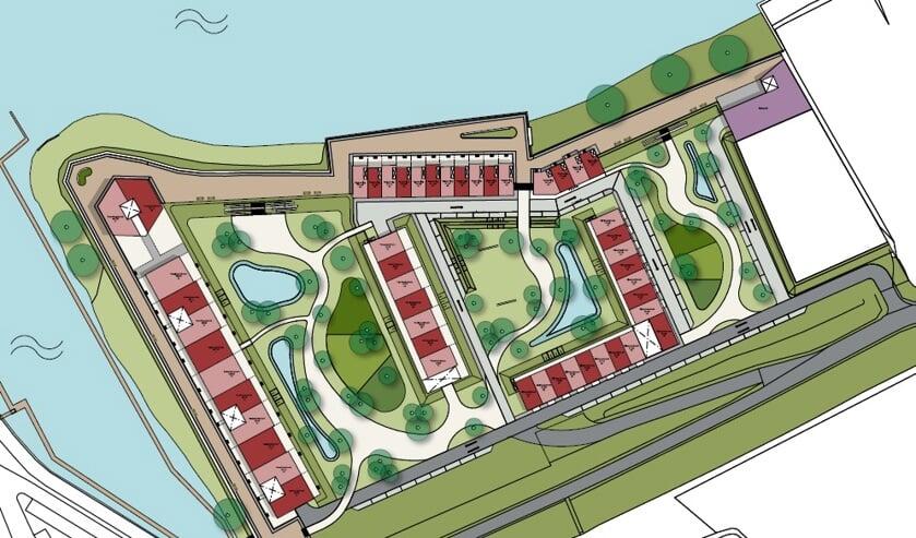 • De nieuwbouwwijk Op 't Loev staat ingetekend op het bedrijventerrein aan de Hoge Maasdijk.