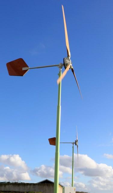 • Een voorbeeld van een kleine windturbine.