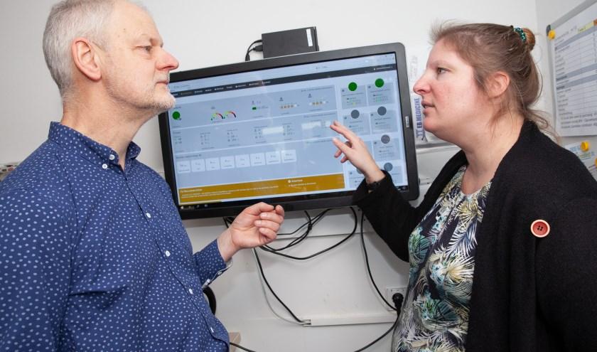 SEH-arts Annemarie van der Velden en applicatiemanager Wim de Graaf van het Albert Schweitzer ziekenhuis bij het 2TWNTY4-dashboard: 'Iedereen ziet elkaars drukte en capaciteit realtime'.