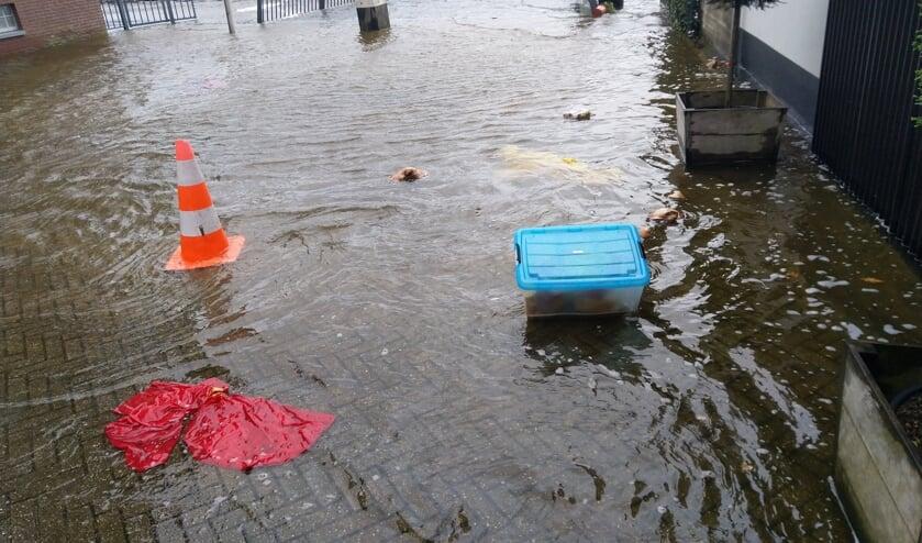 • Hoog water nabij de haven van Ouderkerk aan den IJssel.
