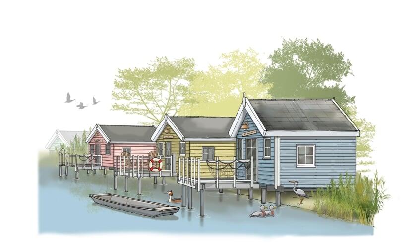 • Een sfeerimpressie van hoe de nieuwe vakantiehuisjes op De Put eruit zouden kunnen gaan zien.