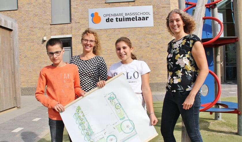 • Vlnr: Lukas Jakovljevic, Nicolette van der Weide, Madelief van Balen en Louisa Broens met het ontwerp.