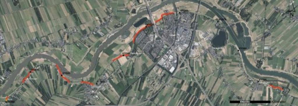 • Het traject van Sluis tot Everdingen. In rood staat het deel dat als eerste aangepakt wordt. Foto: Aangeleverd © Alblasserwaard