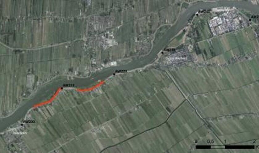 • Het traject tussen Streefkerk en Nieuwpoort. In rood staat het deel dat als eerste aangepakt wordt.