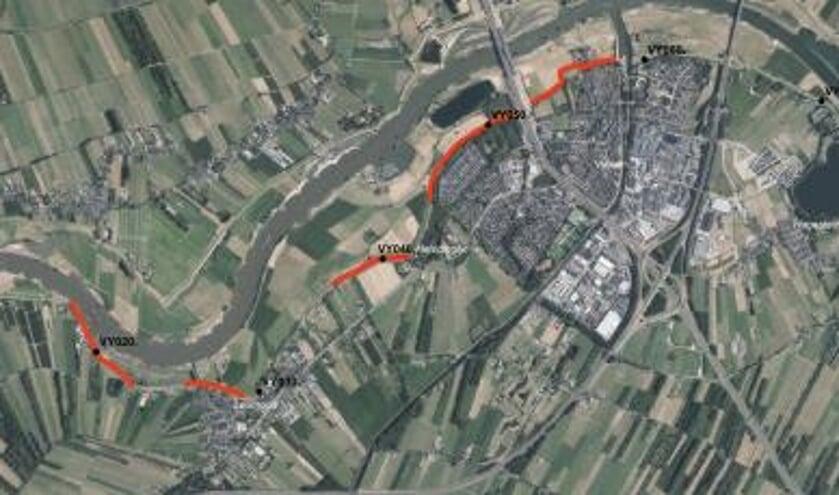 • Het traject van Sluis tot Everdingen. In rood staat het deel dat als eerste aangepakt wordt.