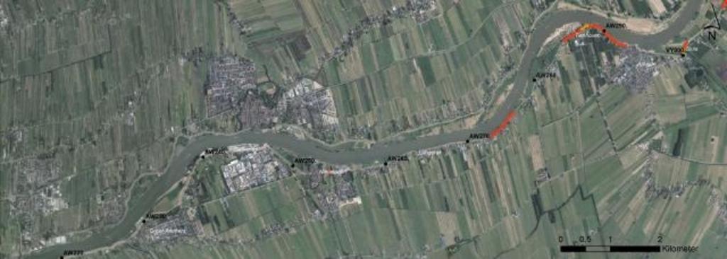 • Het traject van Groot-Ammers tot Sluis. In rood staat het deel dat als eerste aangepakt wordt. Foto: Aangeleverd © Alblasserwaard