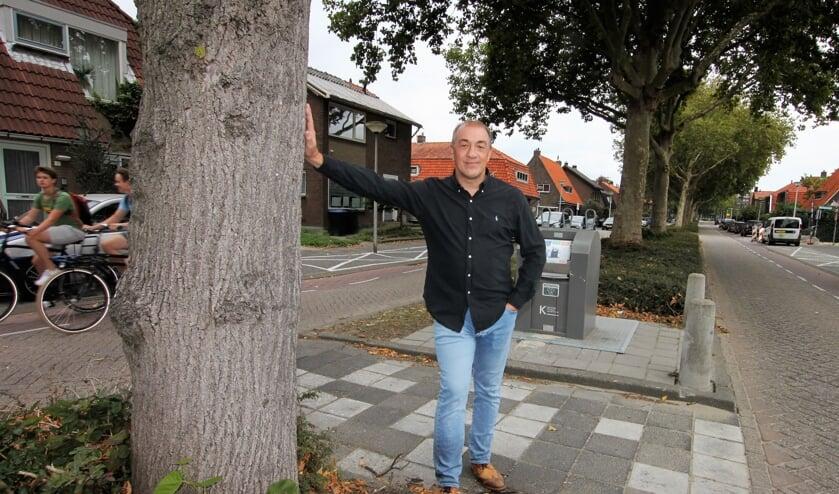• Cornel van Geelen bij één van de beeldbepalende bomen van de Noorderstraat.