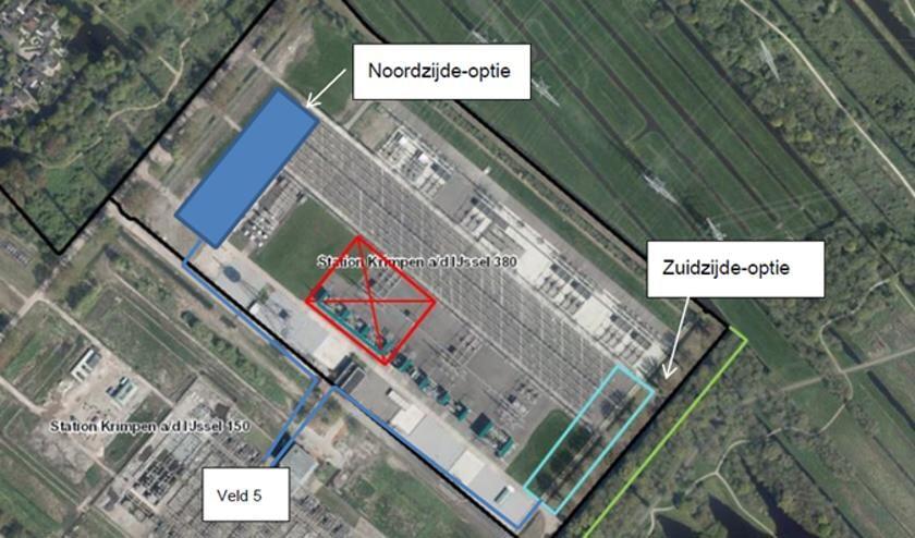 • Het schakelstation Krimpen van bovenaf gezien. Als het aan TenneT ligt, komt de nieuwe trafo aan de noordzijde van het eigen terrein.