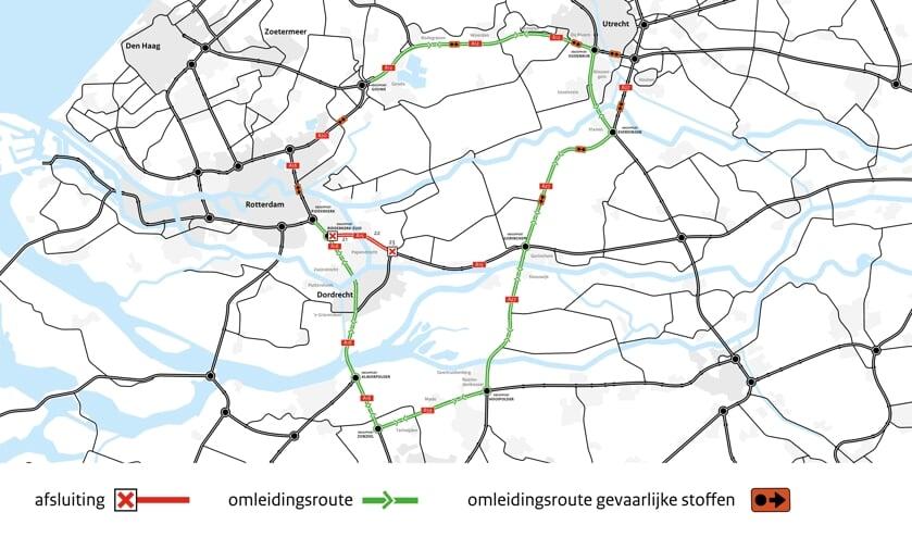 • De omleidingsroutes tijdens de afsluiting van de Noordtunnel.