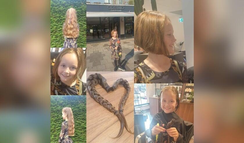 • Sofie (8) voor en na de knipbeurt voor haar donatie.