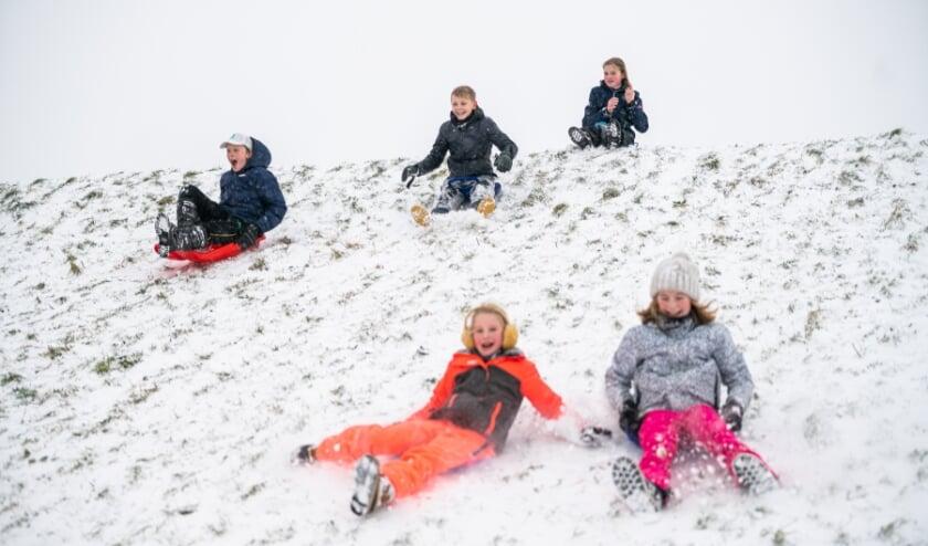 Sneeuwpret bij de Lekdijk