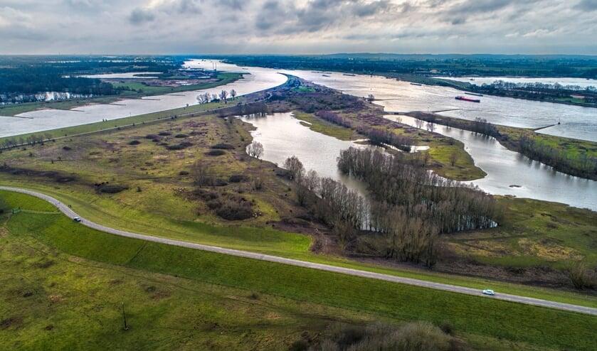 • De Pannerdensche Kop, splitsing van Waal en Rijn, afgelopen weekend.