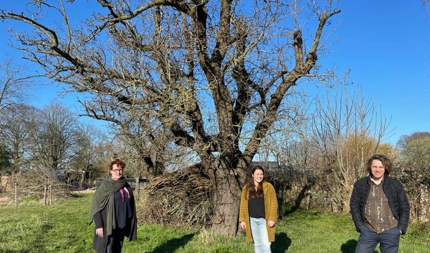 <p>Bestuursleden Iris de Ruiter en Anne van Breugel en Ianus Keller, speler en locatie-eigenaar.</p>
