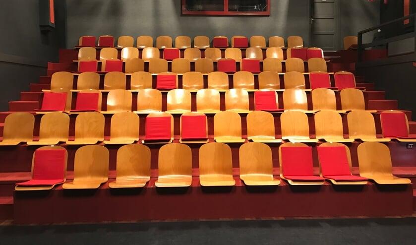 • Een leeg Arto Theater. De kussentjes geven aan waar de bezoekers -coronaproof- kunnen zitten.