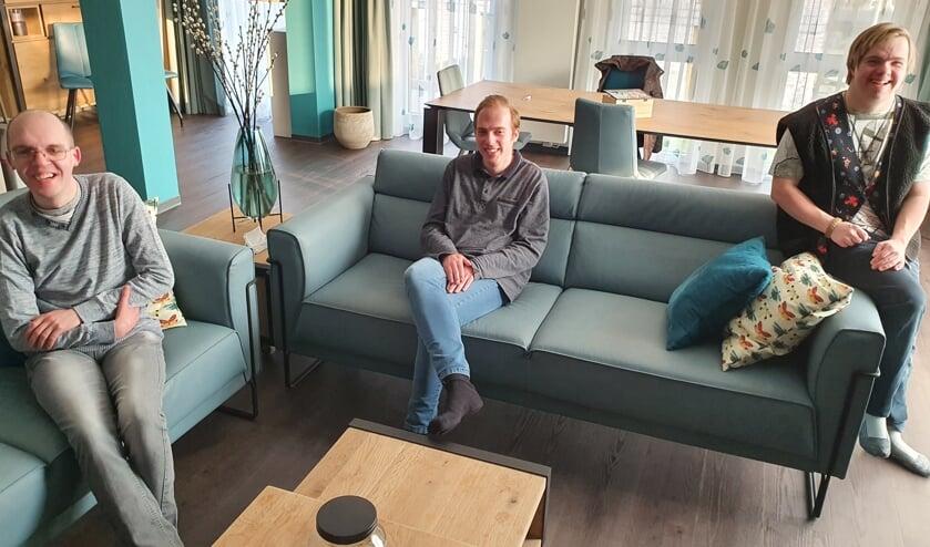 <p>Vlnr: Ferdi van der Plank, Lorenzo Gersee en Maarten Struijs in één van de centrale kamers van Prinsessenpark.</p>