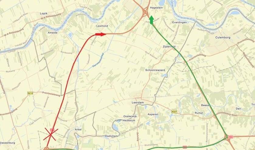 <p>• Het afgesloten stuk snelweg in het rood en de omleidingsroutes in het groen.</p>