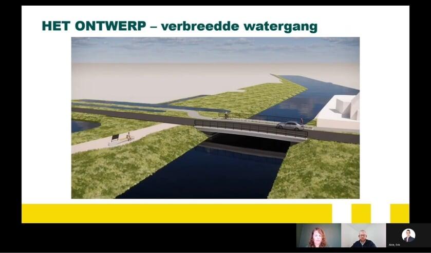 <p>• Beeld uit de online-presentatie: de nieuwe brug en verbrede watergang.</p>
