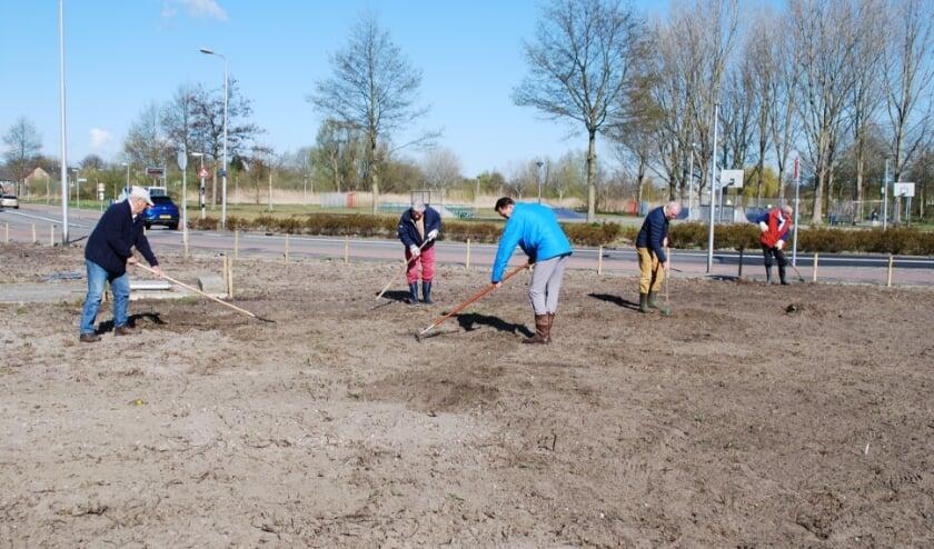• Leden van Lionsclub Krimpen bezig met de aanleg van de berm bij de rotonde naast de Vijverflat.