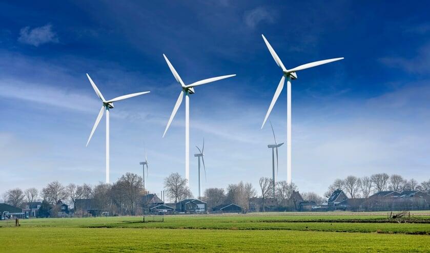 <p>&bull; Impressie op de raamposters van de drie nieuwe windturbines.</p>