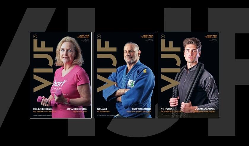 <p>&bull; De drie covers van de nieuwe VIJF.</p>