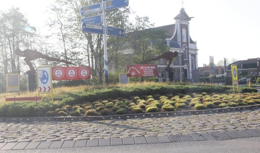 • Spandoeken op de rotonde bij Haastrecht.