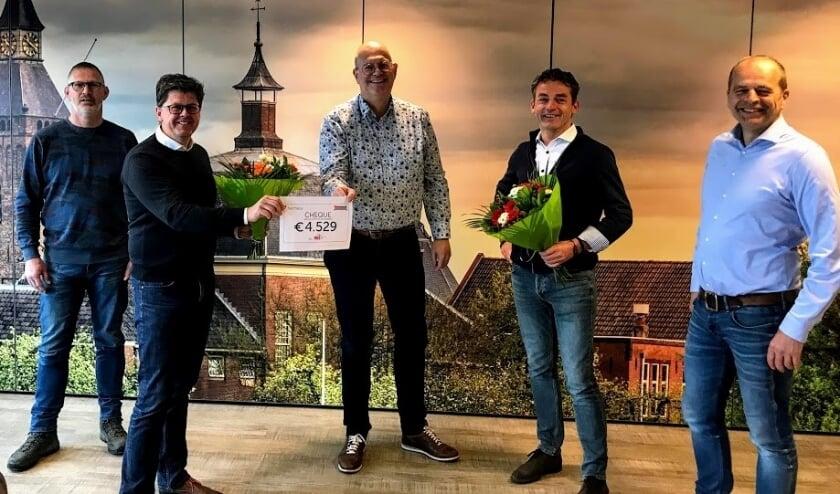 • De cheque werd overhandigd door Marcel Versluijs en René van der Vlies.