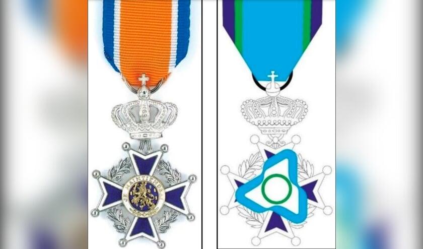 <p>Links het lintje dat men krijgt bij de benoeming tot Lid in de Orde van Oranje-Nassau, rechts staat een eerste opzet voor het jeugdlintje.</p>
