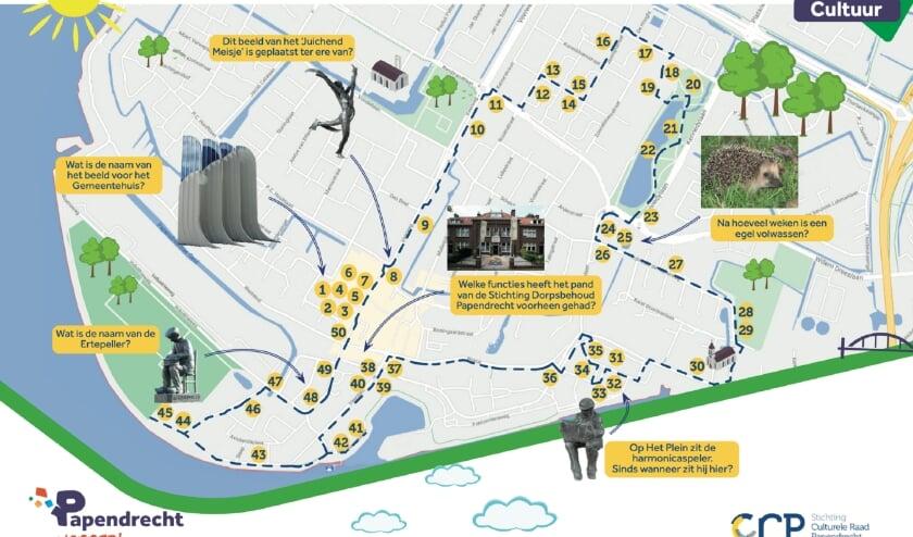 • Een kaartje van de Cultuurpuzzelroute in Papendrecht.